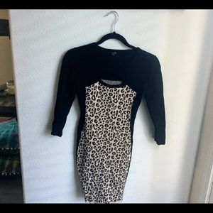 G by guess Cheetah Print Sweater Dress | Small
